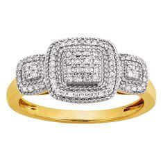 1/4 Carat Diamond 9ct Gold Square Diamond Ring