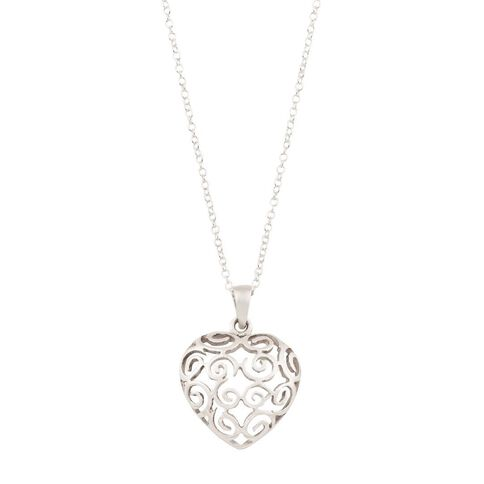 Sterling Silver Heart Scroll Pendant