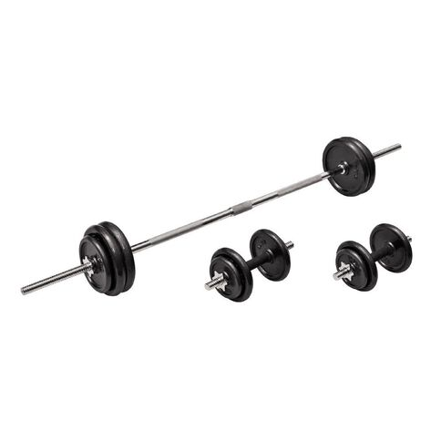 Active Intent Cast Iron Barbell/Dumbbell Set in Plastic Case 50kg