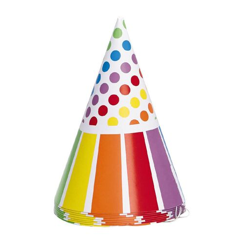 Unique Rainbow Birthday Party Hats 8 Pack