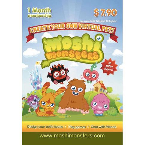 Moshi Monster $7.90 Gift Card