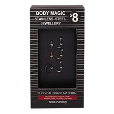 Stainless Steel Nose Studs and Earrings Set 6 Piece