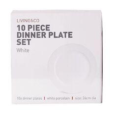 Living & Co Dinner Plate Set 10 Piece White