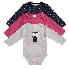 Hippo + Friends Baby Girl Bodysuit 3 Pack
