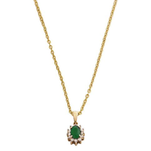 9ct Gold Diamond Synthetic Emerald Cluster Pendant
