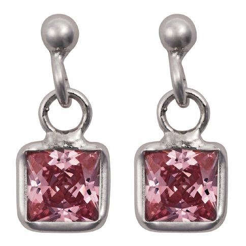 Sterling Silver Small Pink CZ Drop Earrings