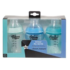 Tommee Tippee Colour My World Bottles Blue 3 Pack