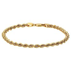 9ct Gold Rope Bracelet 19cm