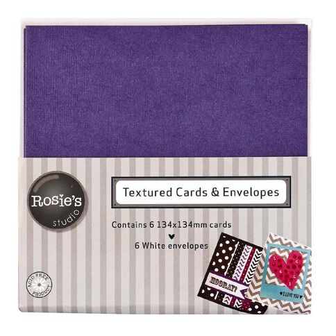 Rosie's Studio Textured Cards Purple 134mm x 134mm 6 Pack
