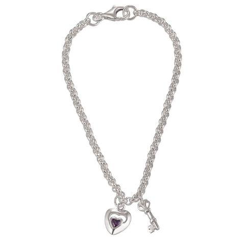 Sterling Silver CZ Heart and Key Belcher Bracelet