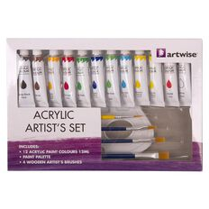 Artwise Acrylic Paint Palette and Brush Box Set 17 Piece