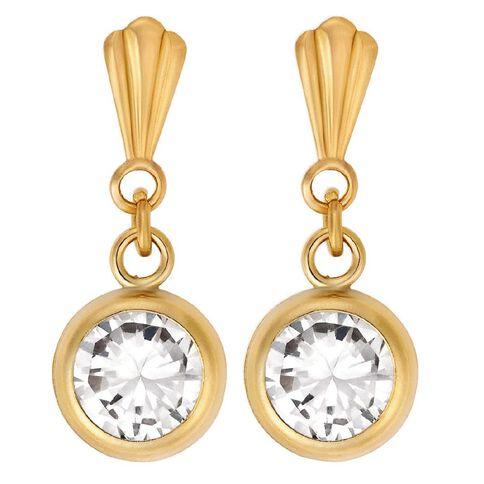9ct Gold Drop CZ Rubover Stud Earrings