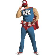 Duffman Muscle Costume with Jumpsuit Cape & Hat Small to Large