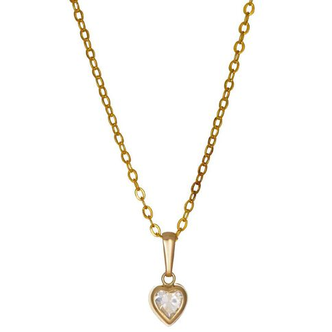 9ct Gold CZ Heart Rubover Pendant 5mm