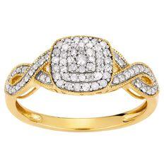 1/4 Carat of Diamonds 9ct Gold Cushion Cut Ring