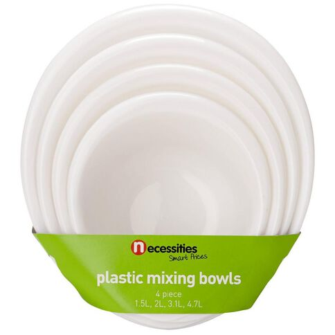 Necessities Brand Plastic Mixing Bowls Set White 4 Piece