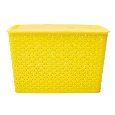 Living & Co Kids Rattan Storage Tub Yellow 18L