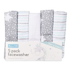 Rocco And Tolly Starry Dreams Facewashers 5 Pack