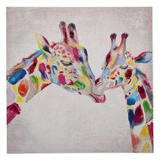 Design House Art Canvas Handpainted Multi Giraffe 60cm x 60cm x 2.5cm