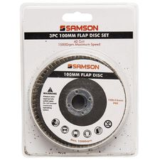 Samson Flap Disc Set 40 Grits 3 Piece 100mm