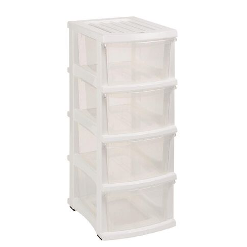 Taurus Organiser White & Clear 4 Drawer