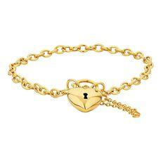 9ct Gold Hollow Padlock Bracelet 19cm