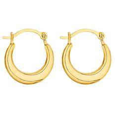 9ct Gold Mini Flat Hoop Earrings 10mm