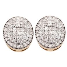 1/2 Carat of Diamonds 9ct Gold  Diamond Oval Stud Earrings