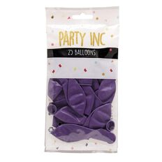 Party Inc Balloons Solid Colour Purple 25cm 25 Pack