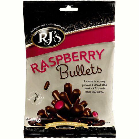 RJ's Raspberry Chocolate Bullets 220g