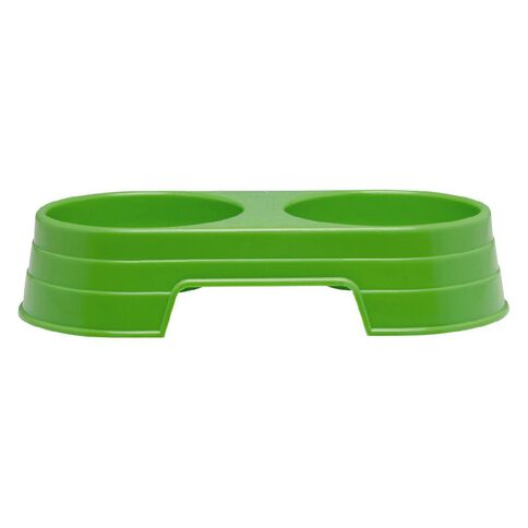 Petzone Twin Feeding Bowl Green