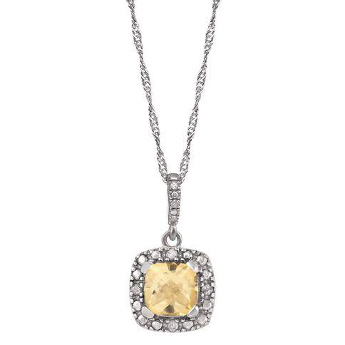 Sterling Silver Diamond and Citrine Cushion Cut Pendant
