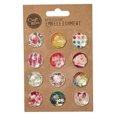 Craftwise Watercolour Embellishments 12 Piece
