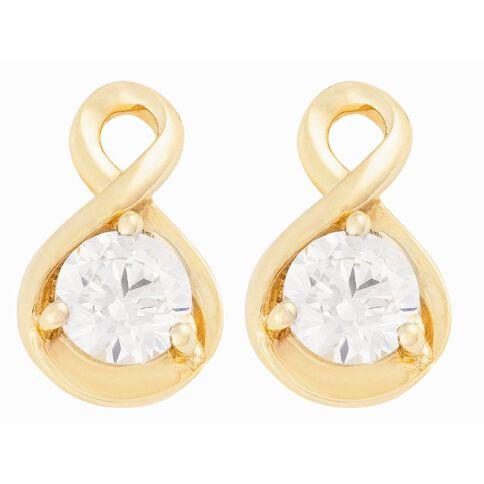 9ct Gold CZ Fancy Drop Stud Earrings