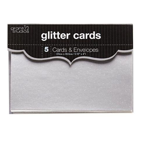 Grants Studio Glitter Cards & Envelopes 15cm x 10.5cm 5 Pack Silver