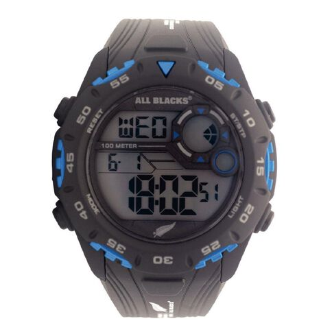 All Blacks Men's Multifunction LCD Watch Black and Orange