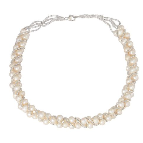 Sterling Silver Freshwater Pearl Multi Strand Necklace
