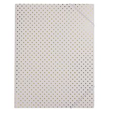 Stylo Folder with Elastic White with Gold Foil Dots A4