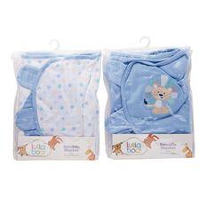 Lullaboo Swaddle Blanket Assorted Blue Large