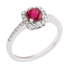Sterling Silver Diamond Synthetic Ruby Ring