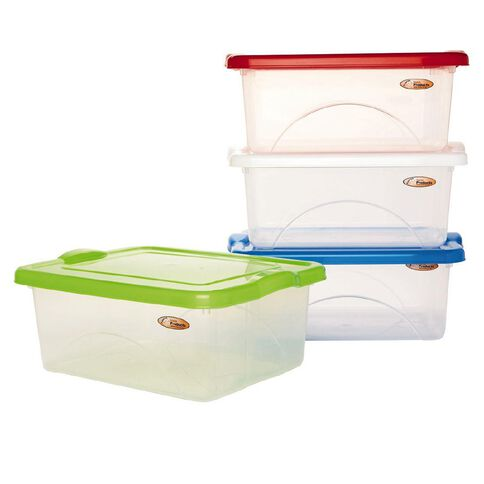 Taurus Clear View Storage Organiser with Lid Assorted Colours 10L