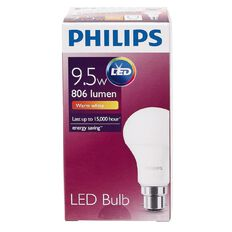 Philips LED Bulb 9.5-60W B22 3000K 230V A60 AU/PF Warm White