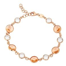 J Lili Sterling Silver Rose Gold Plated Swarovski Crystals Bracelet