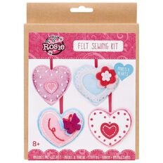 Lil Rosie Felt Hearts Sewing Kit 4 Pack
