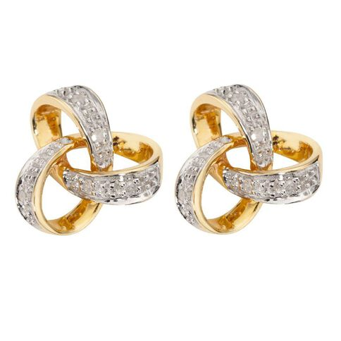 9ct Gold Diamond Knot Earrings
