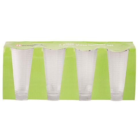 Necessities Brand Nec Glass Ribbed Dutch Old Fashion 340ml Set 4 Piece