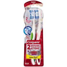 Colgate Optic White Toothbrush Platinum Medium Assorted 2 Pack