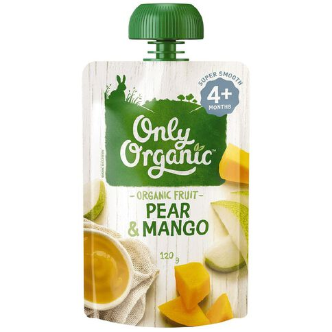 Only Organic Pear & Mango Pouch 120g