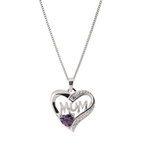 Sterling Silver Mum  Purple CZ Heart Pendant