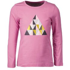 Basics Brand Girls' Long Sleeve Print Front Tee